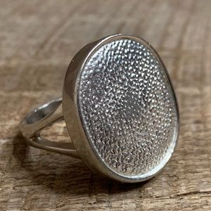 925 Sterling Silver Textured Coin Ring